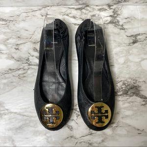 Tory Burch Black and Gold Reva Flats